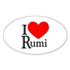 I Love Rumi Oval Decal