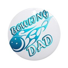 Bowling Dad (flame) copy Round Ornament