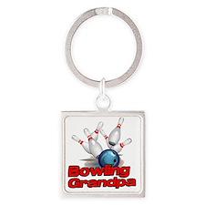 Bowling Grandpa strike) Square Keychain