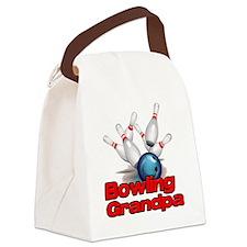 Bowling Grandpa strike) Canvas Lunch Bag