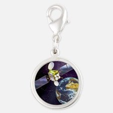 Communications satellite Silver Round Charm