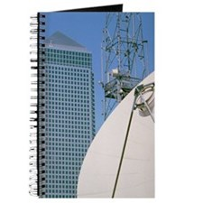Communications dish, with Canary Wharf in  Journal