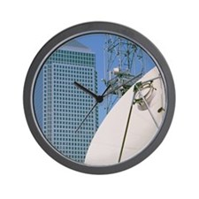 Communications dish, with Canary Wharf  Wall Clock