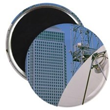 Communications dish, with Canary Wharf in b Magnet