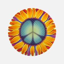 "Peace Flower 3.5"" Button"