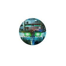 Computer artwork of a city of the futu Mini Button