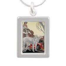 BorzoiWalk Silver Portrait Necklace