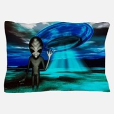 Computer artwork of an alien and a UFO Pillow Case