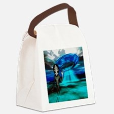 Computer artwork of an alien and  Canvas Lunch Bag