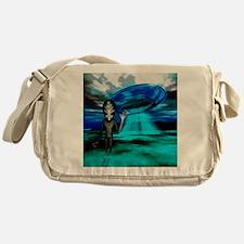 Computer artwork of an alien and a U Messenger Bag