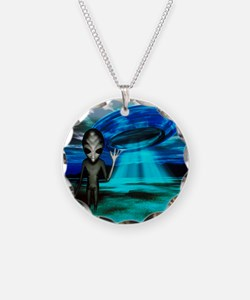 Computer artwork of an alien Necklace Circle Charm