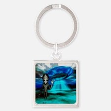 Computer artwork of an alien and a Square Keychain