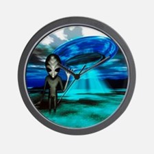 Computer artwork of an alien and a UFO Wall Clock