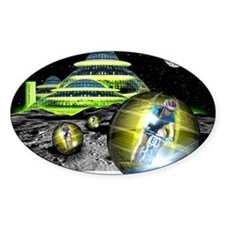 Computer artwork of men cycling fro Decal