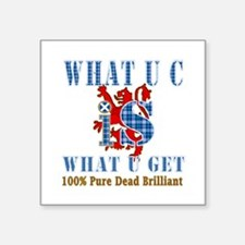 "100% pure dead brilliant Sc Square Sticker 3"" x 3"""
