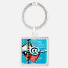 Conceptual computer artwork of int Square Keychain