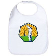 Rugby Player Throwing Lineout Ball Retro Bib