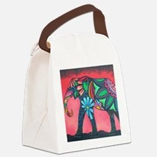Psychedelic Elephant Canvas Lunch Bag
