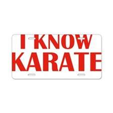 knowKarateWords1E Aluminum License Plate