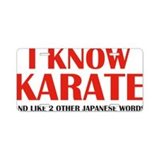 knowKarateWords1D Aluminum License Plate