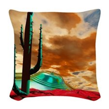 Crashed alien spacecraft Woven Throw Pillow
