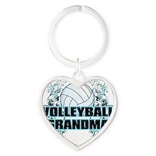 Volleyball Grandma (cross) Heart Keychain