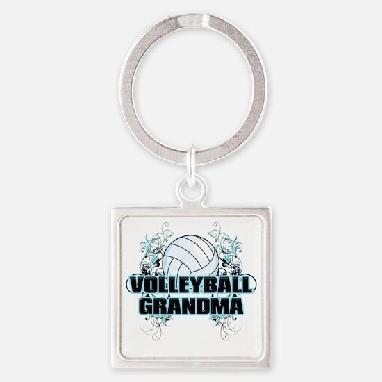 Volleyball Grandma (cross) Square Keychain