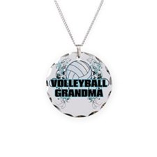 Volleyball Grandma (cross) Necklace Circle Charm