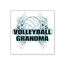 "Volleyball Grandma (cross) Square Sticker 3"" x 3"""