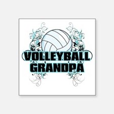 "Volleyball Grandpa (cross) Square Sticker 3"" x 3"""