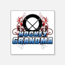 "Hockey Grandma (cross) Square Sticker 3"" x 3"""