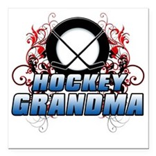 "Hockey Grandma (cross) Square Car Magnet 3"" x 3"""