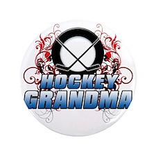 "Hockey Grandma (cross) 3.5"" Button"