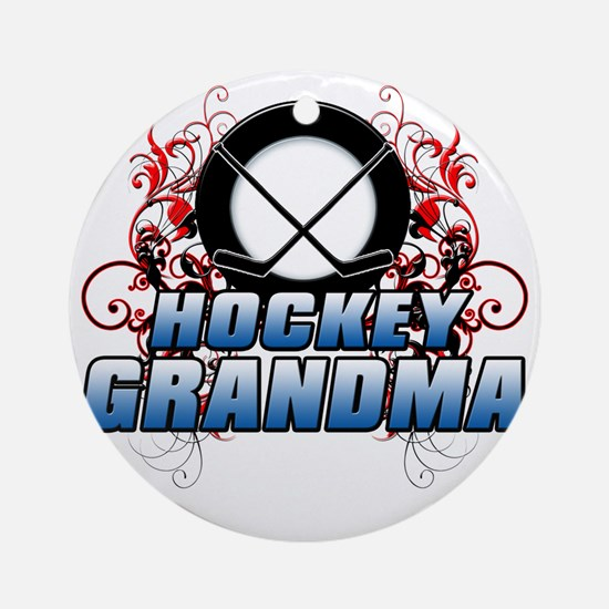 Hockey Grandma (cross) Round Ornament