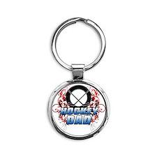 Hockey Dad (cross) copy Round Keychain