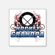 "Hockey Grandpa (cross) Square Sticker 3"" x 3"""