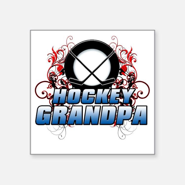 "Hockey Grandpa (cross) Square Sticker 3"" x 3"""