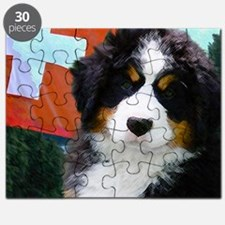 Swiss Bernese Puppy WIne Label Puzzle