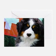 Swiss Bernese Puppy WIne Label Greeting Card