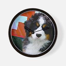 Swiss Bernese Puppy WIne Label Wall Clock