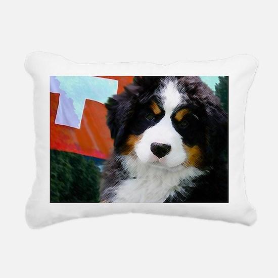 Swiss Bernese Puppy WIne Rectangular Canvas Pillow