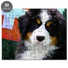 Swiss Berner Puppy clock Puzzle