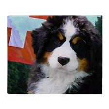 Swiss Berner Puppy clock Throw Blanket