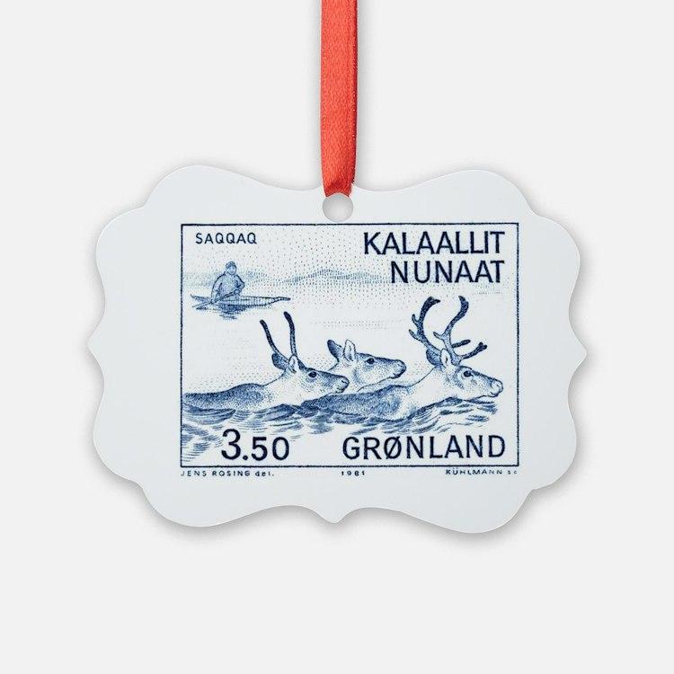 1981 Greenland Wild Reindeer Post Ornament