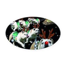 Reindeer Oval Car Magnet