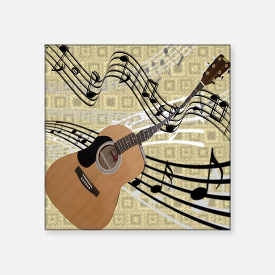 """Abstract Guitar Square Sticker 3"""" x 3"""""""