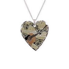 Abstract Guitar Necklace Heart Charm