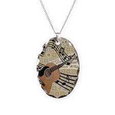 Abstract Guitar Necklace Oval Charm