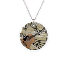 Abstract Guitar Necklace Circle Charm