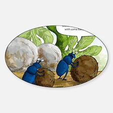 dung beetles cartoon Sticker (Oval)